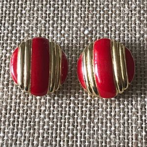 Vintage Red & Gold striped button clip-on Earrings